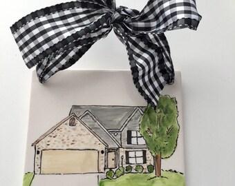 Illustrated Home tile, Illustrated house gift, Custom, hand painted, Home, New Home gift, Family Heirloom gift, house tile