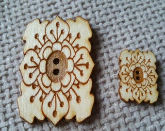 Wooden Button Rectangle Flower Engraved Birch Fastener unusual trim for special garment crochet knit scrapbooking sewing project 3cm  6cm