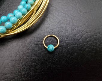 "16g 14g 5/16"" (8mm) Gold Turquoise Stone Captive Bead Ring Small Nostril Hoop Daith Helix Ring Tragus Cartilage Septum Lip Stainless Steel"