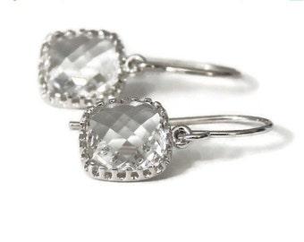 SALE Gift Clear earrings Crystal bridal earrings Crystal earrings Square earrings Bridesmaid earrings Flower girl earrings Silver dangle ear
