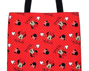 Minnie Mouse with Hearts on Red Carryall Tote Bag - Ready to Ship