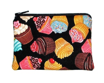 CLEARANCE - Mini Tossed Cupcakes Coin Purse Small Zipper Pouch - Ready to Ship