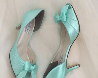 Wedding Shoes - Aqua  Blue - Bridal Shoe - Aqua Blue Wedding -  Wedding Shoe Pump - Wedding Heels 200 Colors - Wide Sizes Available - Shoes