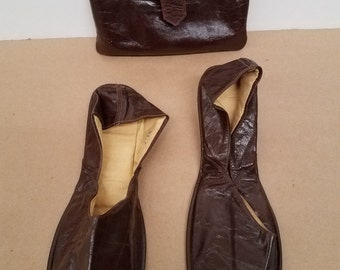 Pair of Vintage Leather Travel Slippers