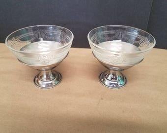Set of 2 Vintage Aluminum and Glass Sundae Dishes
