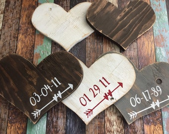 Wooden Heart with Arrow and Date/you pick the date and finish/2 sizes/babys room/living room/ den/ bedroom decor/anniversary/wedding gift