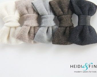 NEW Cashmere and Leather Hairbow SET of 7 Hairclip merino lvory taupe grey gray black sweater