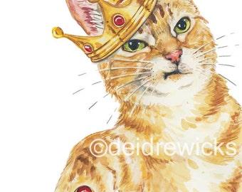 Cat Watercolor Painting - 11x14 Print, Orange Tabby, Animal Watercolour, Funny Cat Art, Nursery Art