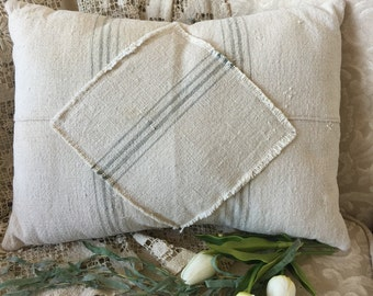Grain Sack Pillow  12 x 16  by Gathered Comforts