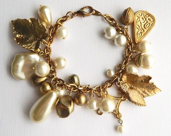 Vintage Chunky Mid Century Chain Bracelet - 30 Charms - White and Gold Pearls Leaves - 1950
