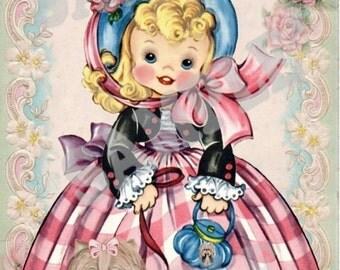 Vintage Girl with Yorkie, Yorkshire terrier card topper, birthday card,  digtial, download, printable