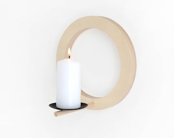 Wall candle holder wood round modern minimal scandinavian style contemporary design by renna deluxe