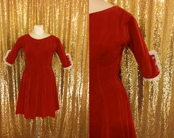 Vintage Red Velvet Party Dress // 1960s Mini Dress // Full Skirt Christmas Cocktail Dress // Rhinestone Lace Detail //