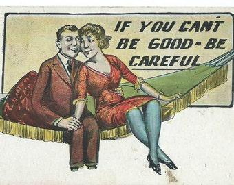 Vintage 1925 Comic Romantic Couple Postcard