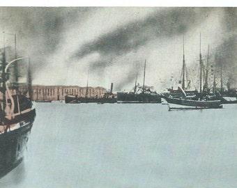 Vintage 1900's Tinted Photo Postcard, Harbor of Reggio, Italy