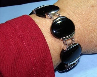 "Black ONYX and STERLING Silver Bracelet 8 1/4"" long"