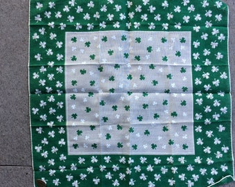 Vintage Hanky St. Patrick's Day Hanky St. Patti's Day Hanky with Four Leaf Clovers NWT Hand rolled hem For the Wearing of the Green