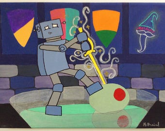 Robot of Leisure: The Sword in the Olive Stone - original artwork - acrylic on canvas