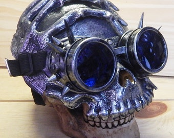 Steampunk Mask Goggles Set - 2 pc. Distressed Silver 'BONEY-HAND KEYHOLE' Pirate Skull Mask with Matching Spiked Goggles - Burning Man Mask