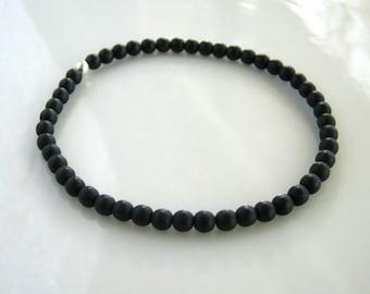 Dainty Black Stretch Bracelet Matte Black Bracelet Black Stacking Bracelet