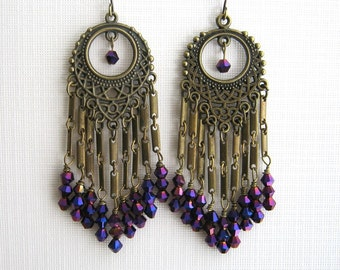 Long Brass and Purple Crystal Chandelier Earrings Long Purple Earrings