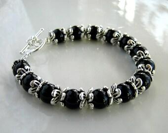 Antique Silver and Black Bracelet Silver and Black Obsidian Bracelet