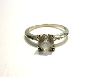 Vintage 14K White Gold Ring Paste Diamond Antique Jewelry White Gold Ring Setting Size 6