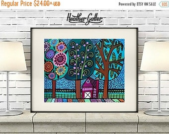 50% Off Today- Landscape Art - LANDSCAPE Abstract Tree Art Poster Print Modern Folk Art (Hg570)