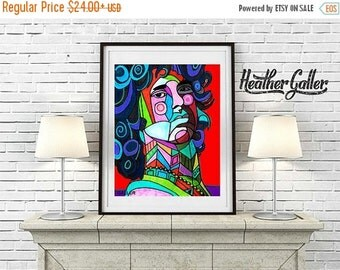 50% Off Today- JIM MORRISON Art Poster Print of painting by Heather Galler musician The Doors (HG1562)