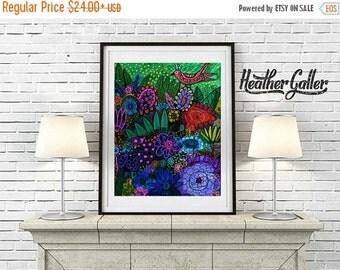 50% Off Today- Zen Center Birds Garden Art Exotic Flowers Hawaii Print Poster by Heather Galler Folk Art Landscape (HG1798)