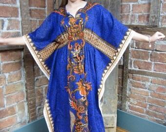 On Sale 1970s Tribal Caftan/ Hippie Dress/ Boho INDIA Ethnic Gypsy festival  DASHIKI One Size 638