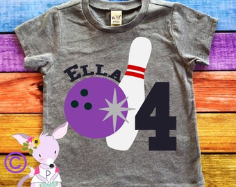 Bowling Birthday Shirt Any Age and Name Bowling Birthday Party Tshirt Bowling Kids Birthday Shirt Kids Bowling Shirt Name and Number shirt