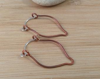 Teardrop Hoops Hammered Copper Sterling Silver Hoop Earrings Rustic Oxidized Copper Mixed Metal Leaf Earrings Hinged Hoop Rustic Earrings