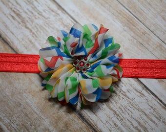 CLEARANCE Headband/ Rainbow Chiffon Flower Headband/ Rainbow Baby Headband/ Baby Hair Accessories/ Girls Hair Accessories/ Sale Headband