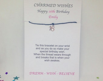 16th birthday card, 16th birthday wish bracelet, friendship bracelet, Gift for 16th, Sweet sixteen, 16th birthday gift, Daughter gift, 16th