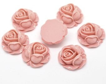 20pcs Wholesale Pink Rose Cabochons - Light Pastel Pink Flower Cabochons - 1 inch Flat Back Resin Budding Cabbage Rose Jewelry Supply C54