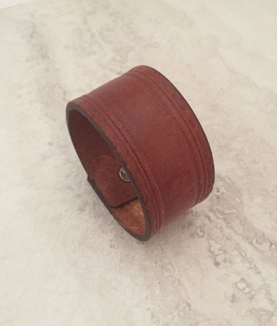 Handmade Brown Leather Bracelet, Women's Leather Cuff (size 6.5 inches)