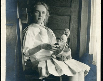 Pretty Young Girl Sitting In the Shadows With SEWING KIT Photo circa 1920