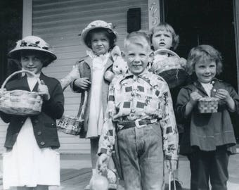 Time For An EASTER EGG HUNT - Children in Easter Bonnets Holding Baskets Photo circa 1950