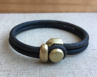LEATHER CUFF bracelet. dark GRAY distressed leather with antque brass button clasp.