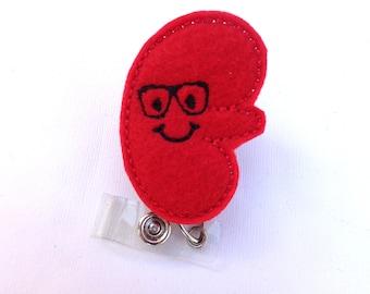 Retractable badge holder - Happy Kidney with glasses - red felt kidney badge reel - dialysis technician nephrologist nurse