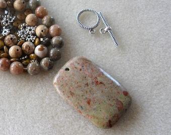 Autumn Jasper Pendant and Beads, Epidote, Czech Glass, DIY Jewelry Kit, Gemstone and Glass Beads, Necklace Kit