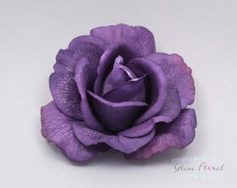Purple Real Touch Rose Hair Clip/ Brooch, Wedding Hair Fascinator, Hair Head Piece, Real Touch Flowers. Caroline Rose Collection
