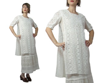 1910s Edwardian Cotton Knit Dress with Chemical Lace Tabard Over Dress