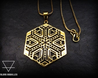 Pendentif géométrie, avec chaine maillon snake # geometric pendent with snake necklace