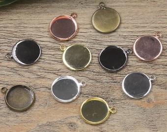 50 Brass Bronze/ Silver/ Gold/ Rose Gold/ White Gold/ Gun-Metal Plated 10mm/ 12mm/ 14mm/ 16mm/18mm/ 20mm/ 25mm Round Bezel W/ Ring- Z6217