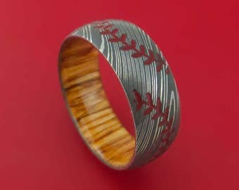 Damascus Steel Double Stitch Baseball Ring with Custom Color and Hardwood Sleeve