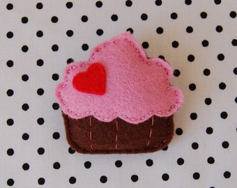 Handmade, Felt Strawberry Cupcake Brooch - Felt Jewellery