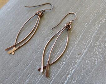 Long Dangle Copper Earrings - Mother's Day Gift - Textured Hammered Earrings - Boho Style Dangle Earrings - Simple Hammered Dangle Earring