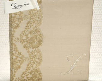 Wedding Guest Book Alternative / Bridal Shower Guest Book / Custom Guest Book / Gold Guestbook / Personalized Memory Book  - Langston